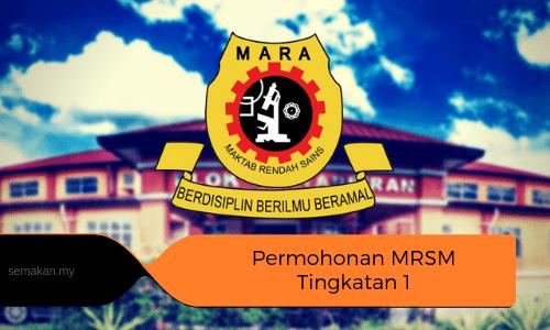 Permohonan MRSM Tingkatan 1 & 4 2021